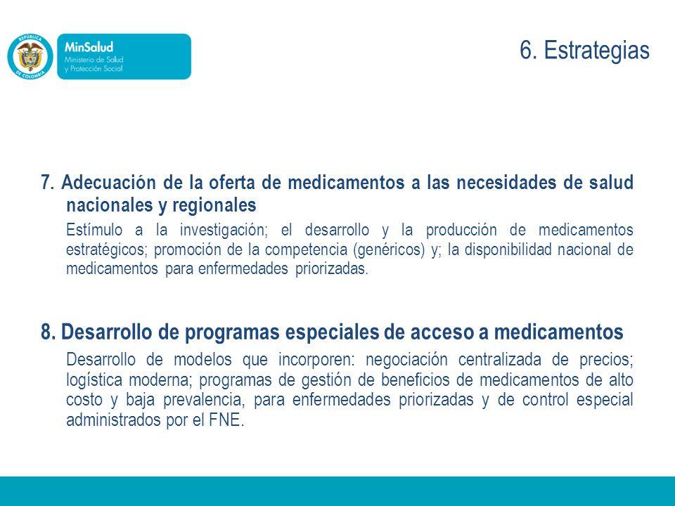 6. Estrategias 7. Adecuación de la oferta de medicamentos a las necesidades de salud nacionales y regionales.