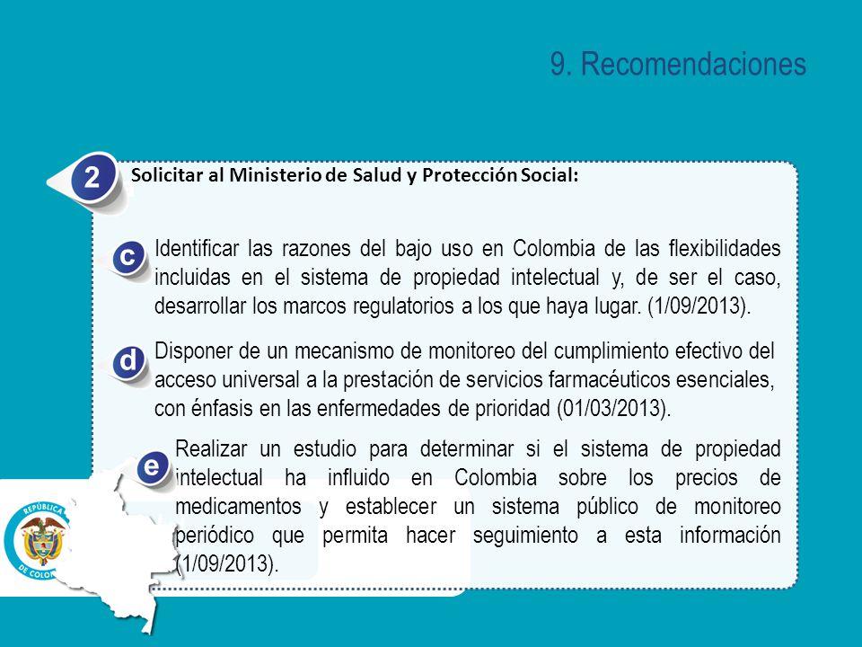 9. Recomendaciones 2. Solicitar al Ministerio de Salud y Protección Social: a. c.