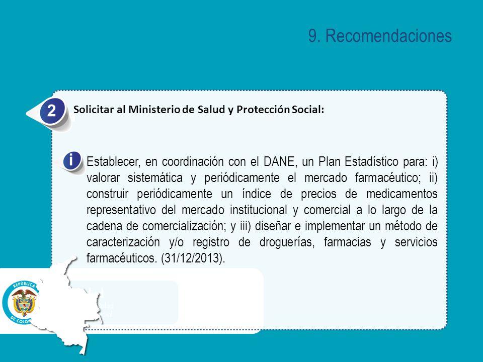 9. Recomendaciones 2. Solicitar al Ministerio de Salud y Protección Social: a. i.