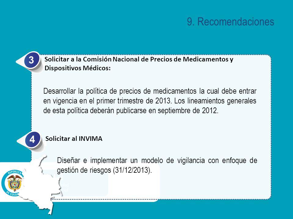 9. Recomendaciones 3. Solicitar a la Comisión Nacional de Precios de Medicamentos y Dispositivos Médicos: