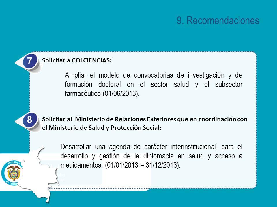 9. Recomendaciones 7. Solicitar a COLCIENCIAS: a.