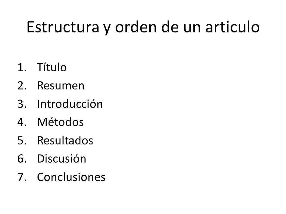 Estructura y orden de un articulo