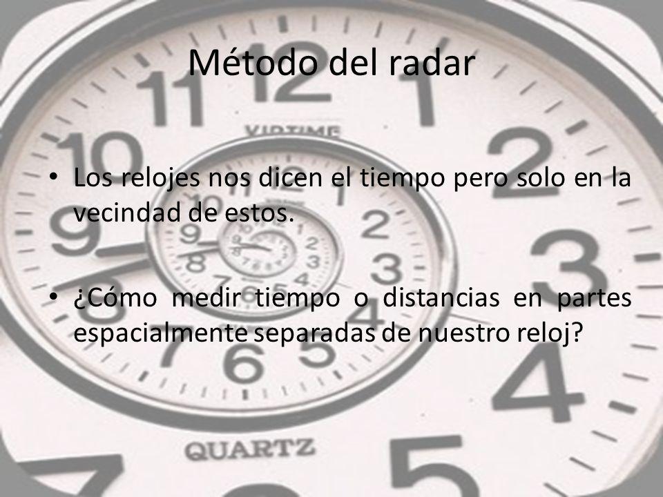 Método del radar Los relojes nos dicen el tiempo pero solo en la vecindad de estos.