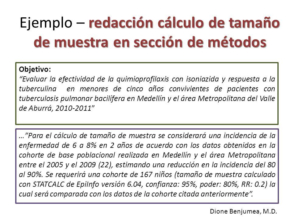 Ejemplo – redacción cálculo de tamaño de muestra en sección de métodos
