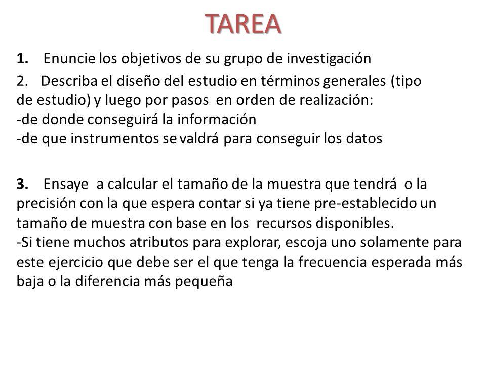 TAREA 1. Enuncie los objetivos de su grupo de investigación