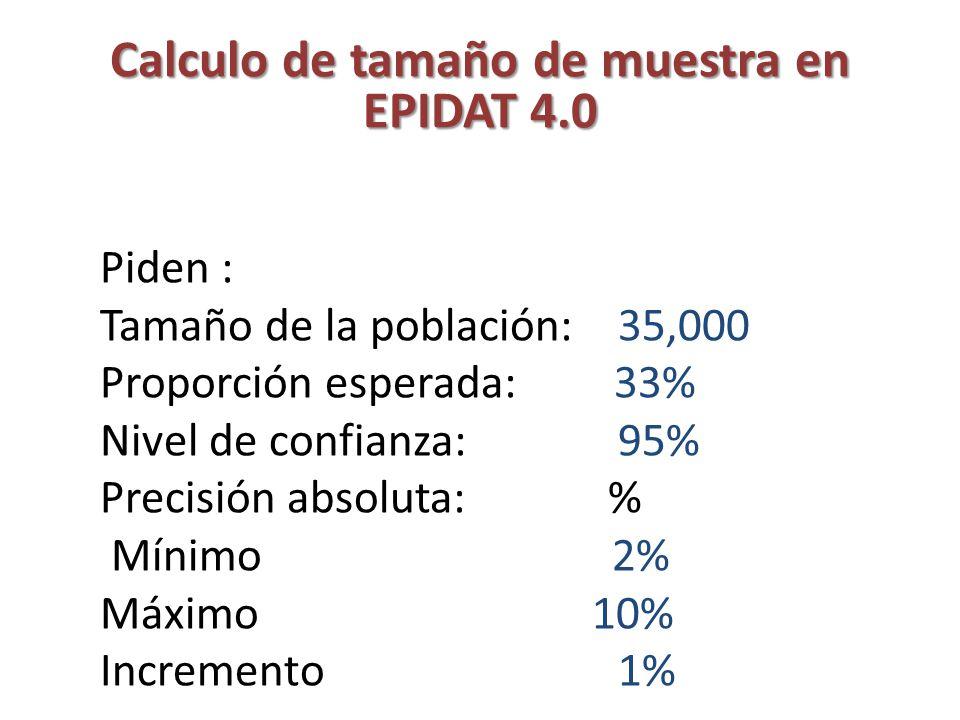 Calculo de tamaño de muestra en EPIDAT 4.0