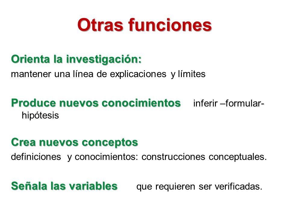 Otras funciones Orienta la investigación: