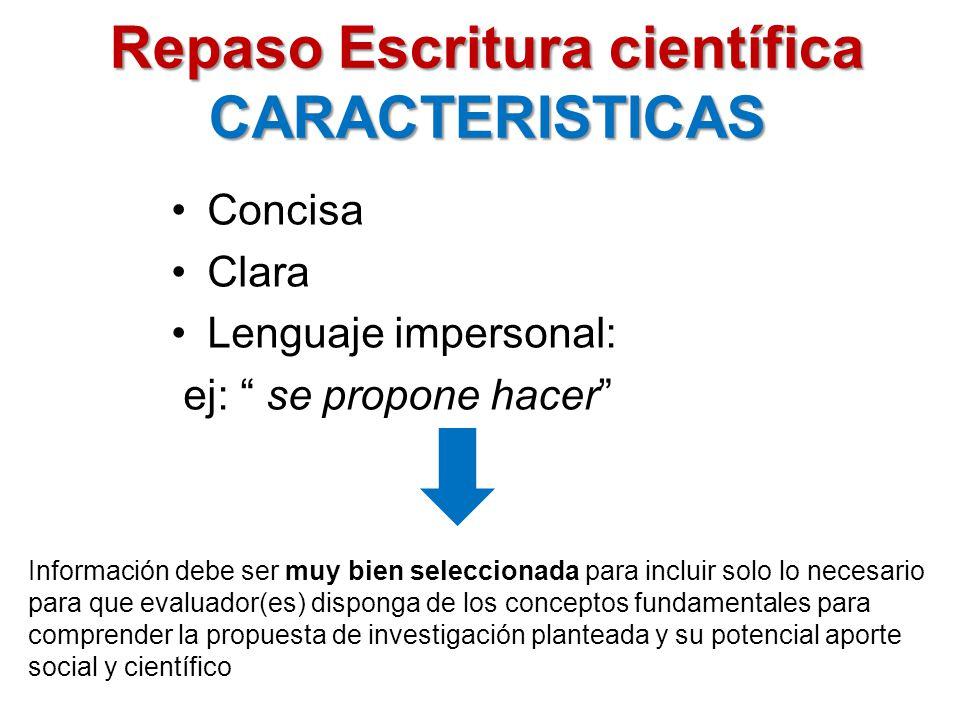 Repaso Escritura científica CARACTERISTICAS
