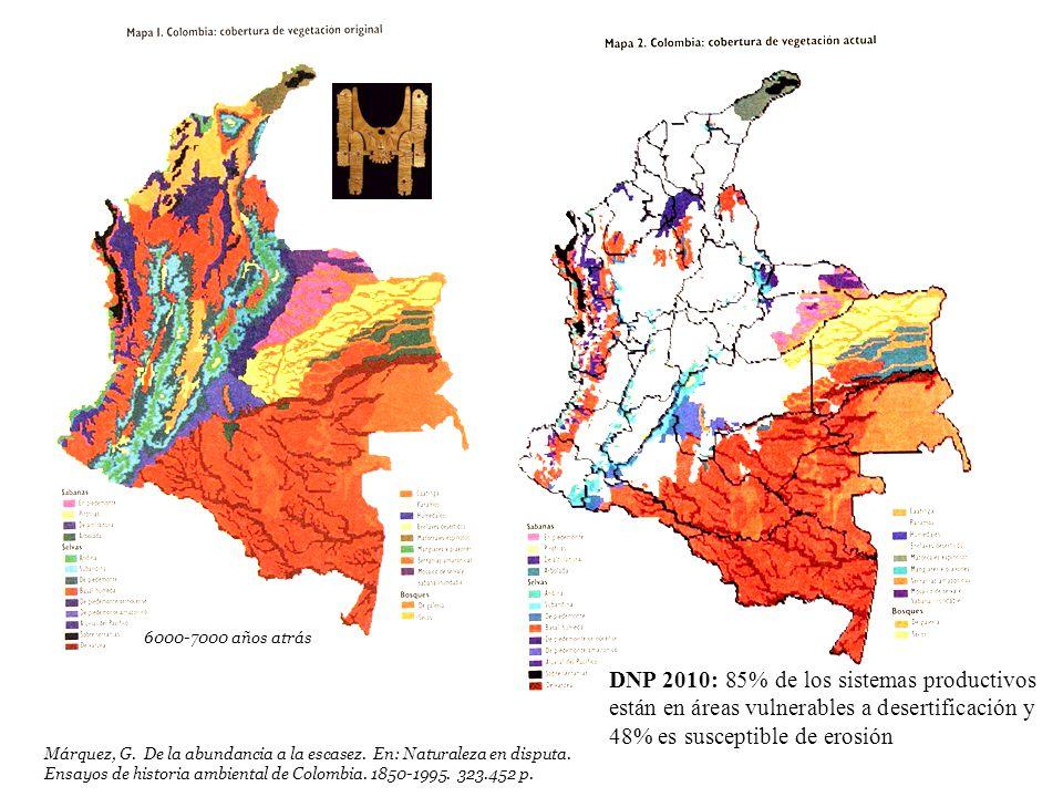 6000-7000 años atrás DNP 2010: 85% de los sistemas productivos están en áreas vulnerables a desertificación y 48% es susceptible de erosión.