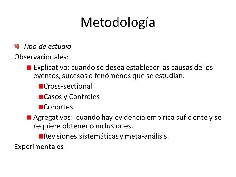 Metodología Tipo de estudio Observacionales: