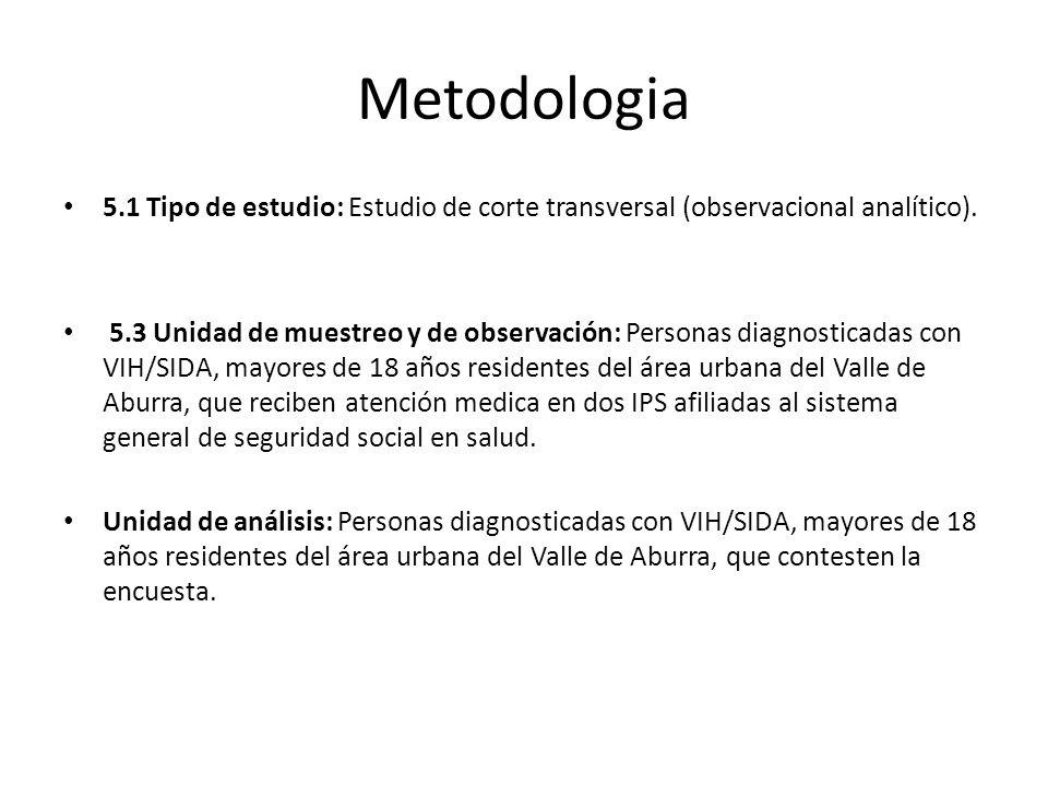 Metodologia 5.1 Tipo de estudio: Estudio de corte transversal (observacional analítico).