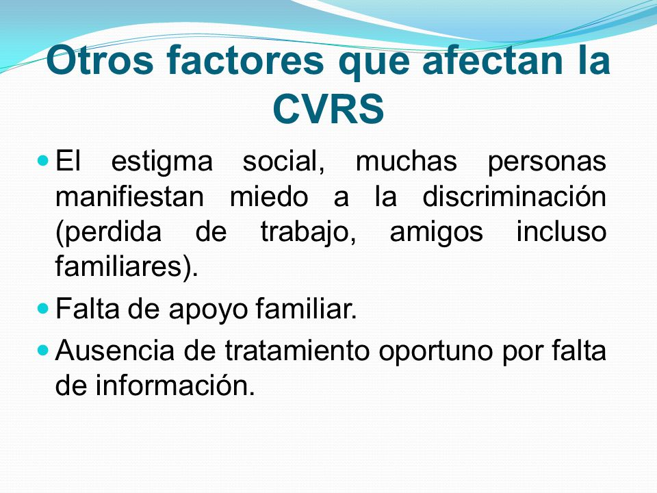 Otros factores que afectan la CVRS