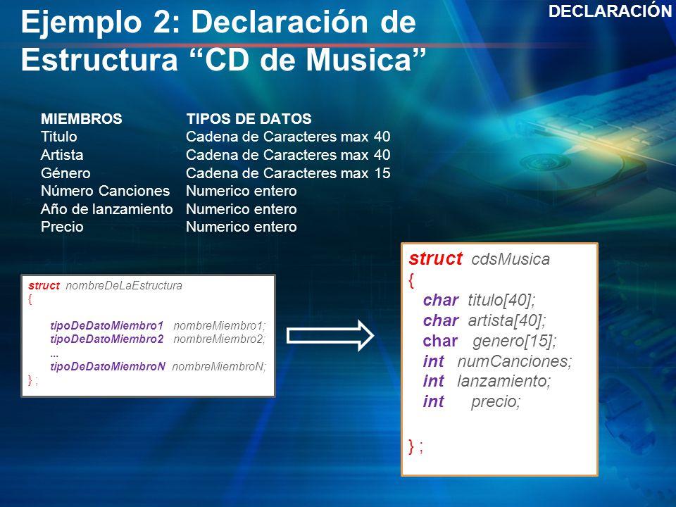 Ejemplo 2: Declaración de Estructura CD de Musica