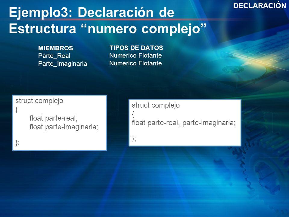 Ejemplo3: Declaración de Estructura numero complejo