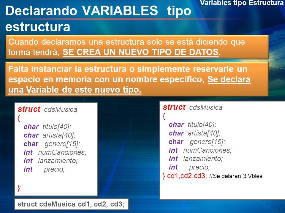 Declarando VARIABLES tipo estructura