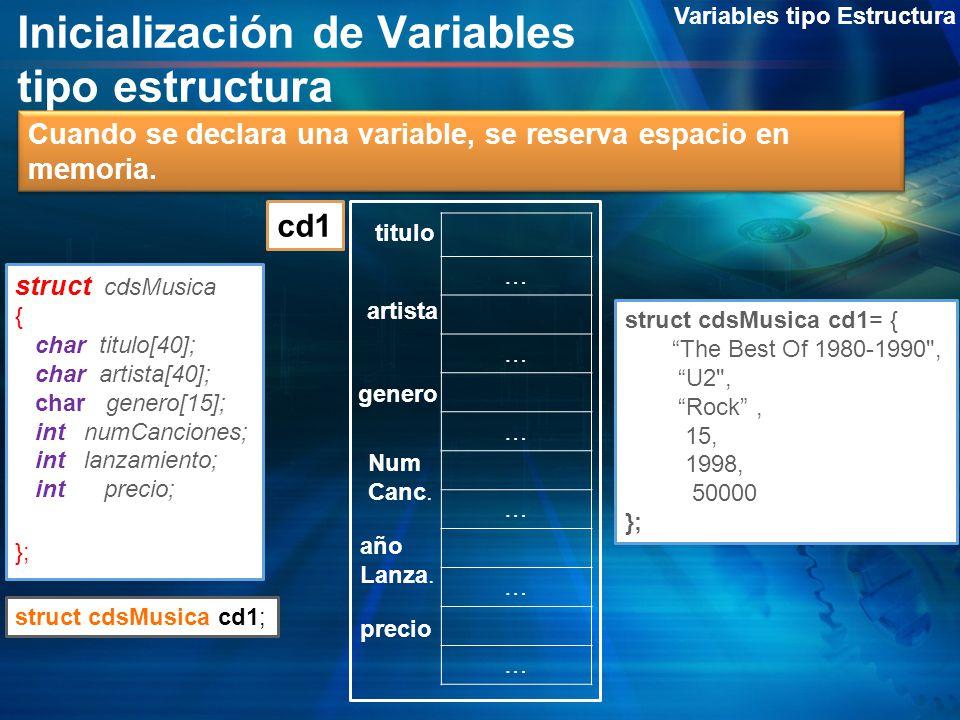Inicialización de Variables tipo estructura
