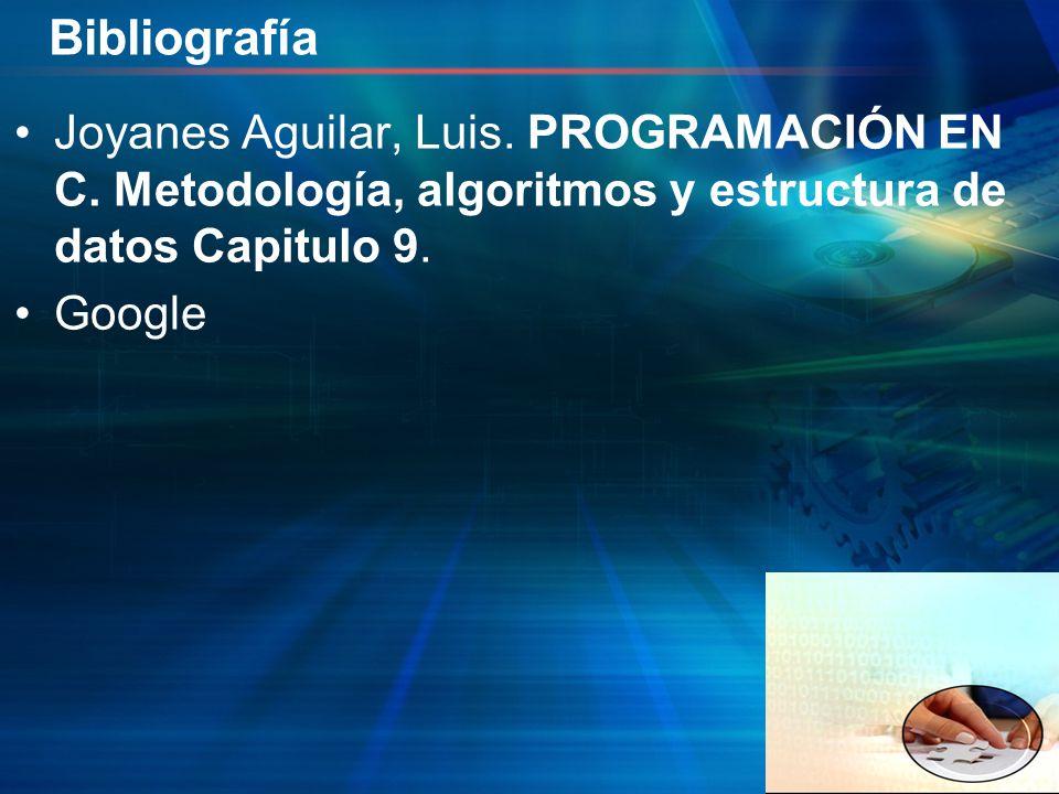 Bibliografía Joyanes Aguilar, Luis. PROGRAMACIÓN EN C. Metodología, algoritmos y estructura de datos Capitulo 9.