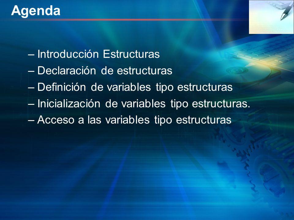 Agenda Introducción Estructuras Declaración de estructuras