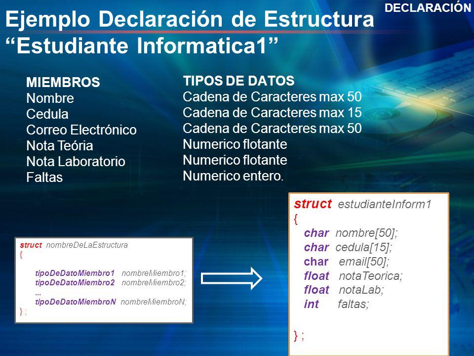 Ejemplo Declaración de Estructura Estudiante Informatica1