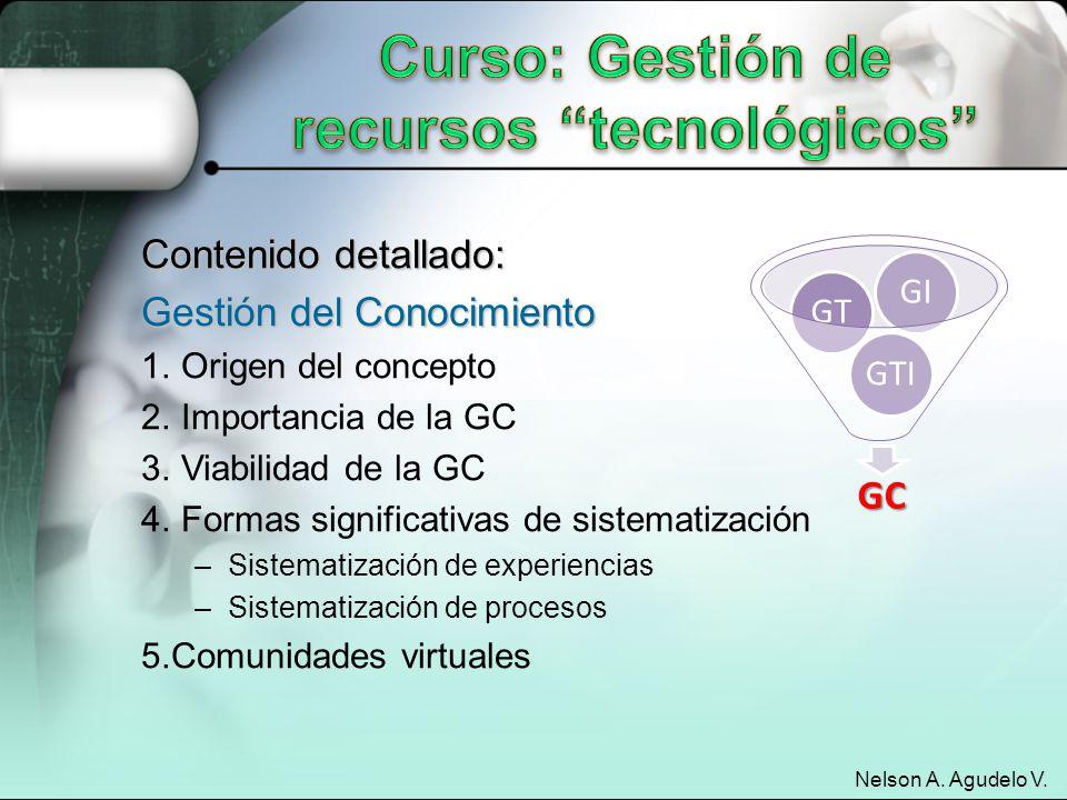 Curso: Gestión de recursos tecnológicos