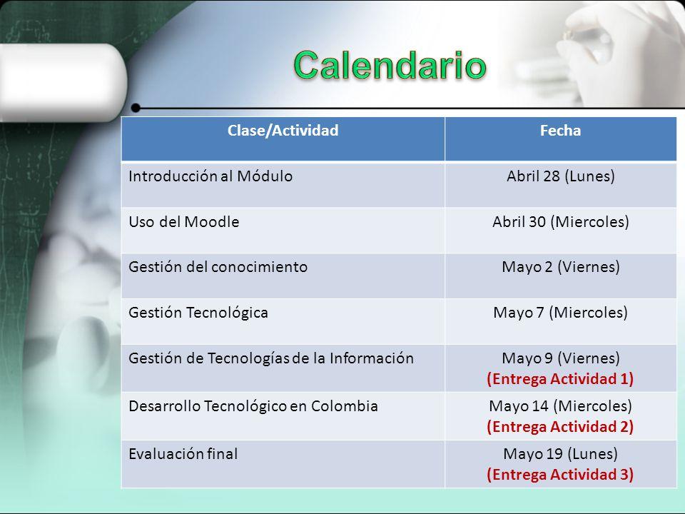 Calendario Clase/Actividad Fecha Introducción al Módulo