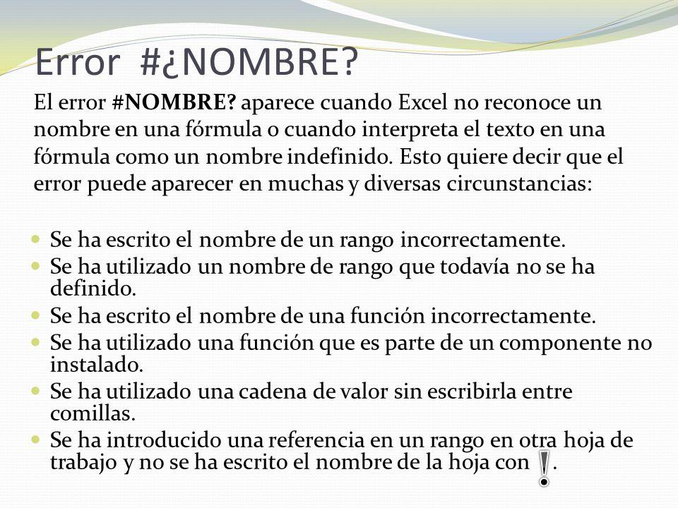 Error #¿NOMBRE