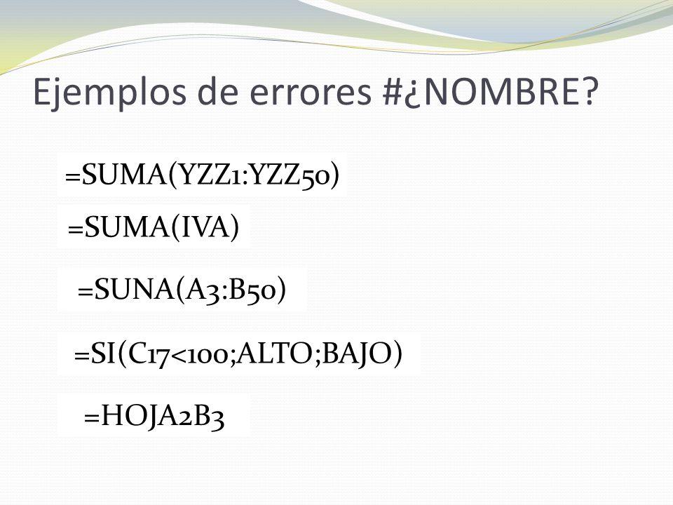 Ejemplos de errores #¿NOMBRE