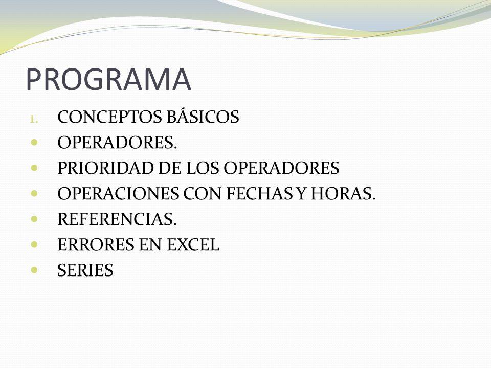 PROGRAMA CONCEPTOS BÁSICOS OPERADORES. PRIORIDAD DE LOS OPERADORES