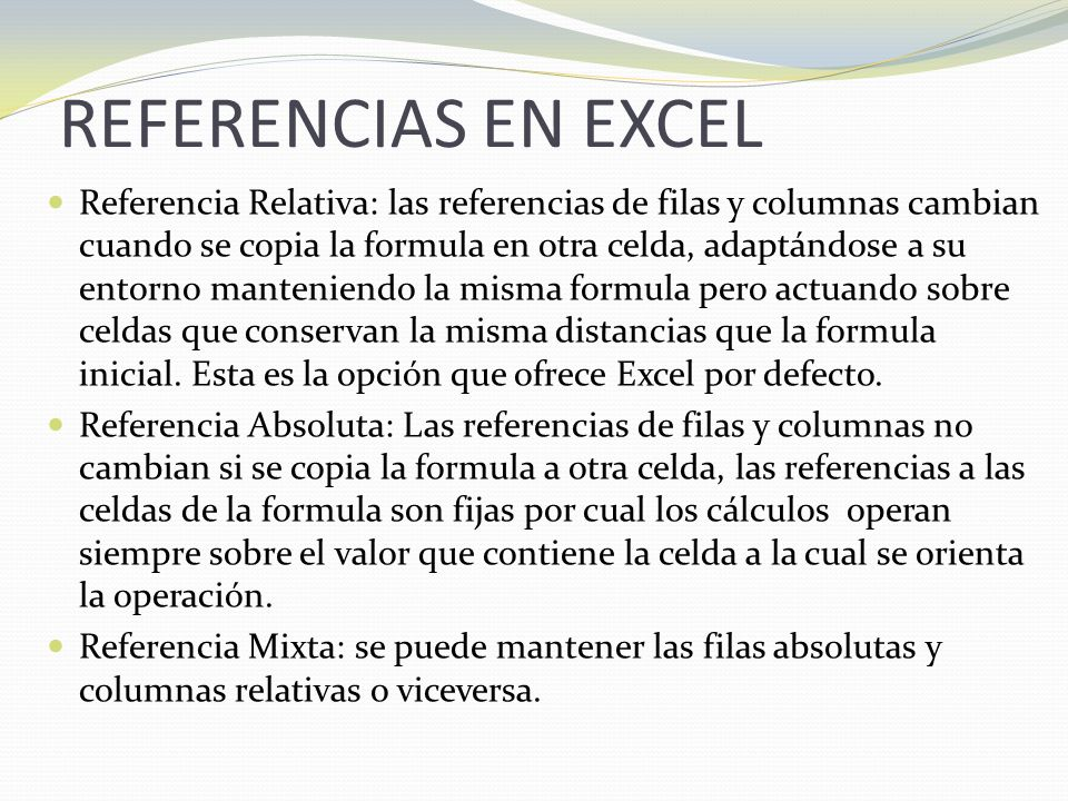 REFERENCIAS EN EXCEL