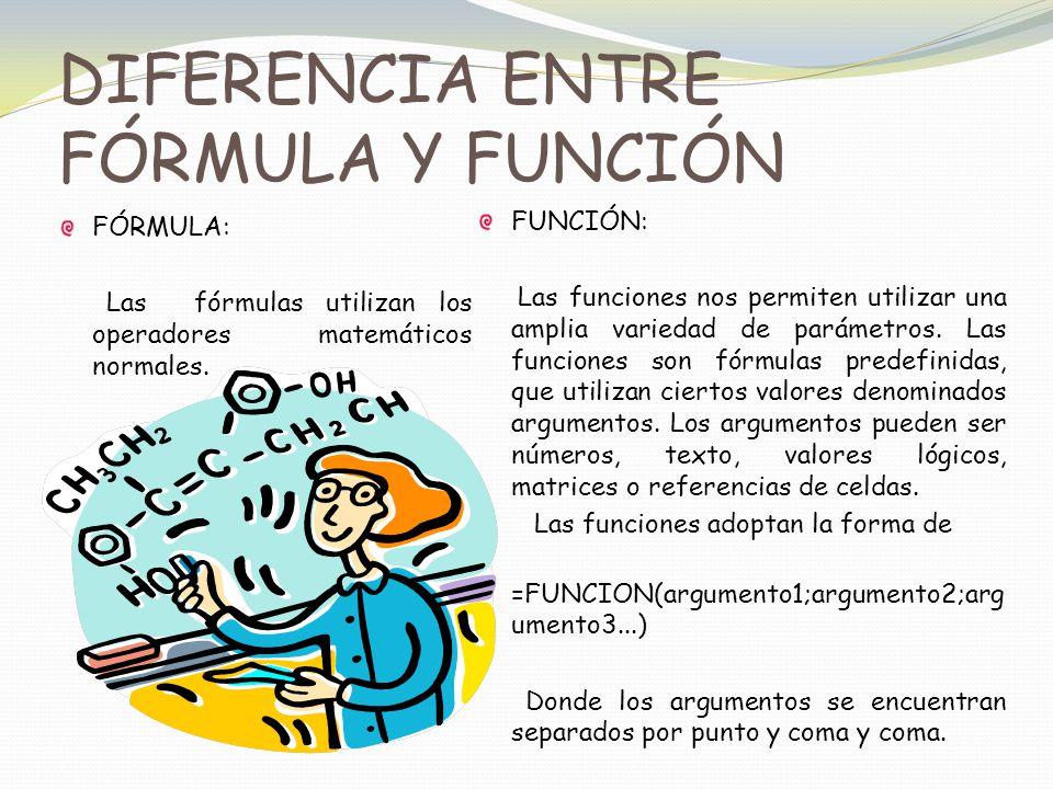 DIFERENCIA ENTRE FÓRMULA Y FUNCIÓN