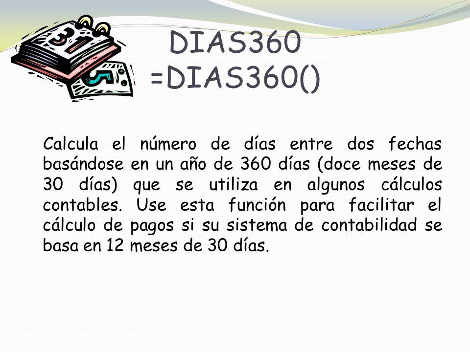 DIAS360 =DIAS360()