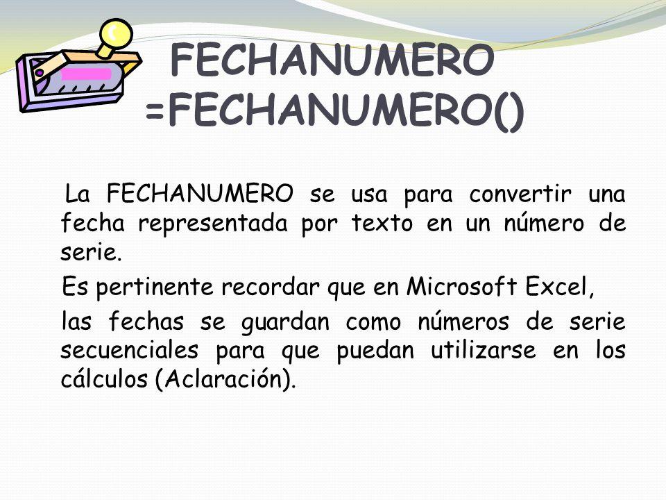 FECHANUMERO =FECHANUMERO()