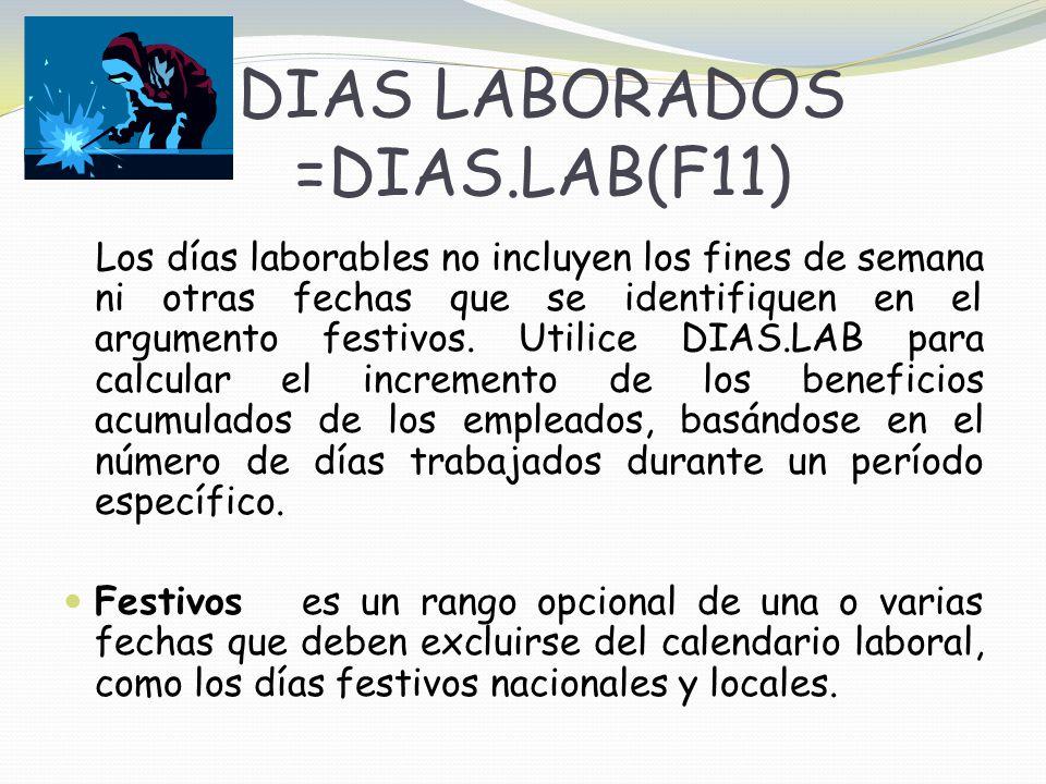 DIAS LABORADOS =DIAS.LAB(F11)