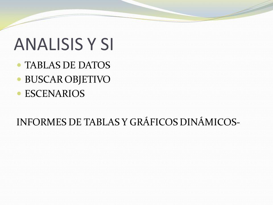 ANALISIS Y SI TABLAS DE DATOS BUSCAR OBJETIVO ESCENARIOS