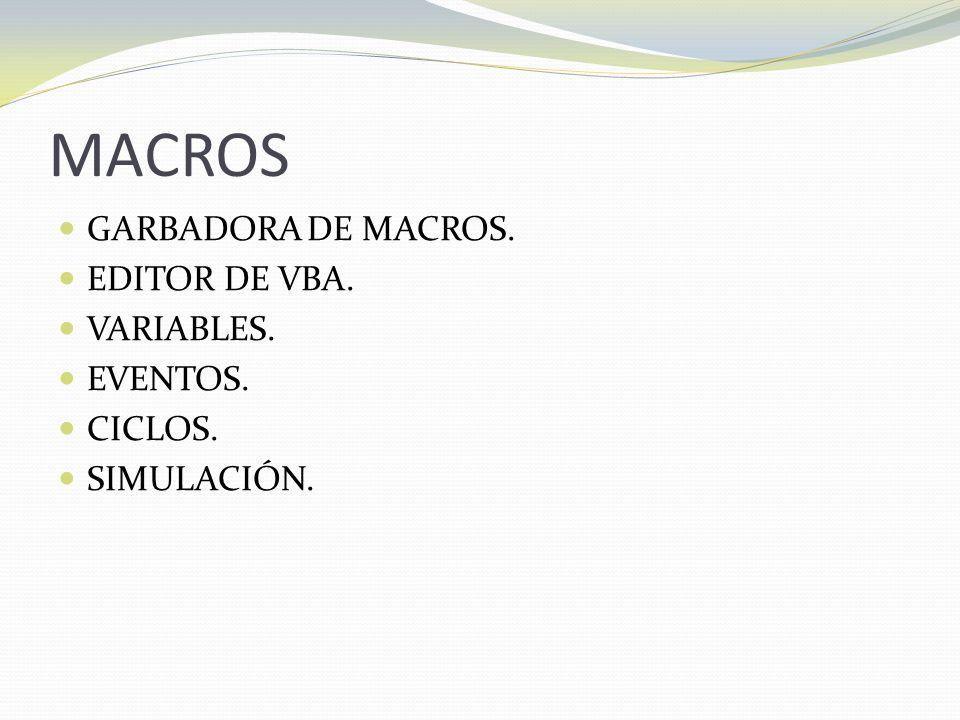 MACROS GARBADORA DE MACROS. EDITOR DE VBA. VARIABLES. EVENTOS. CICLOS.