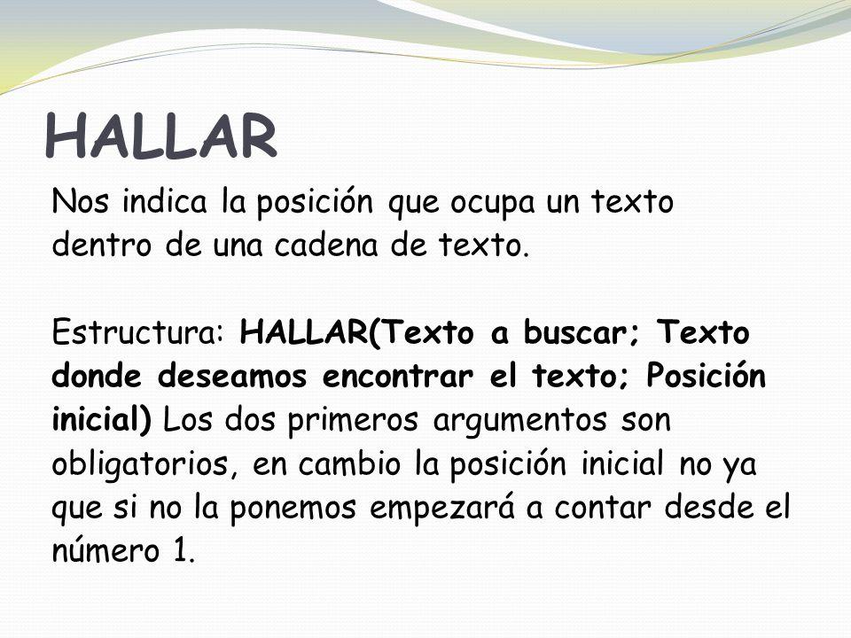 HALLAR Nos indica la posición que ocupa un texto