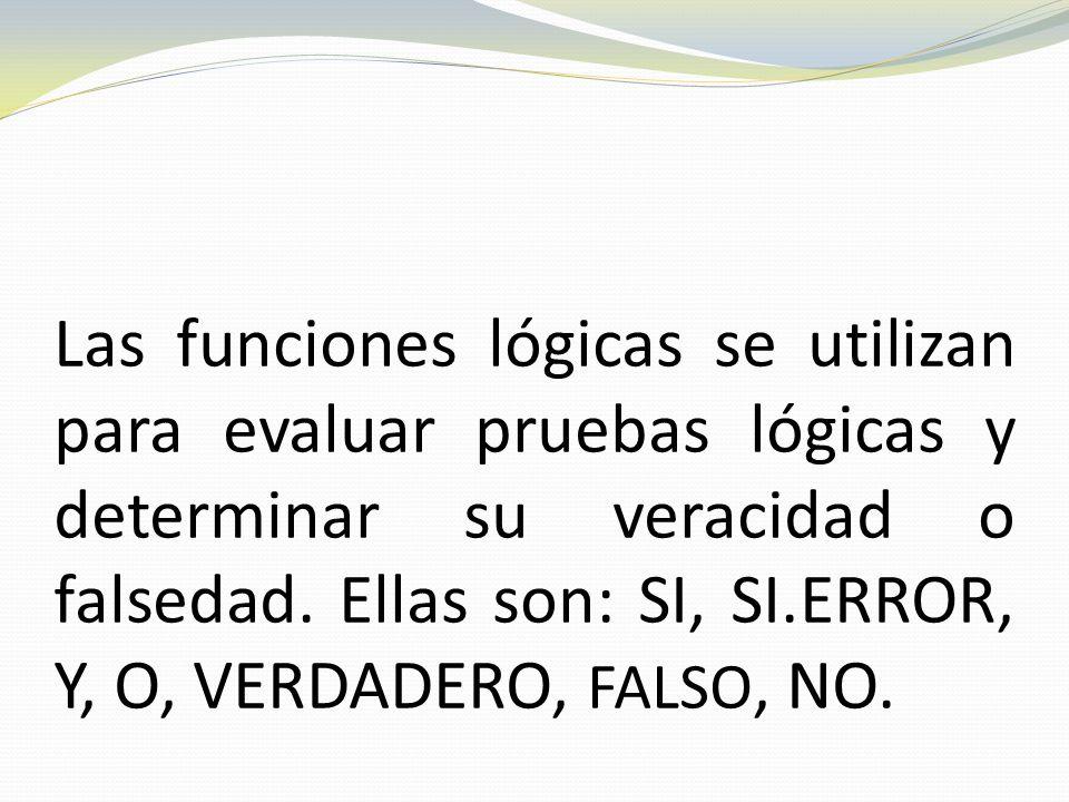 Las funciones lógicas se utilizan para evaluar pruebas lógicas y determinar su veracidad o falsedad.