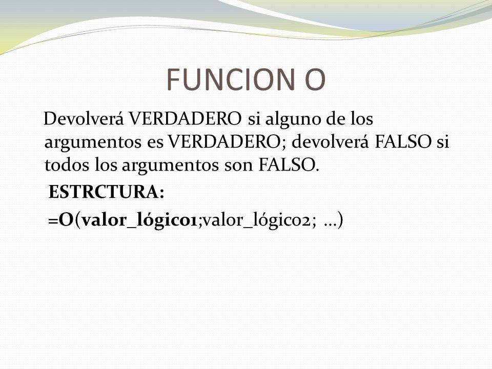 FUNCION O ESTRCTURA: =O(valor_lógico1;valor_lógico2; ...)
