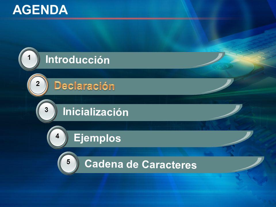AGENDA Introducción Declaración Declaración Inicialización Ejemplos