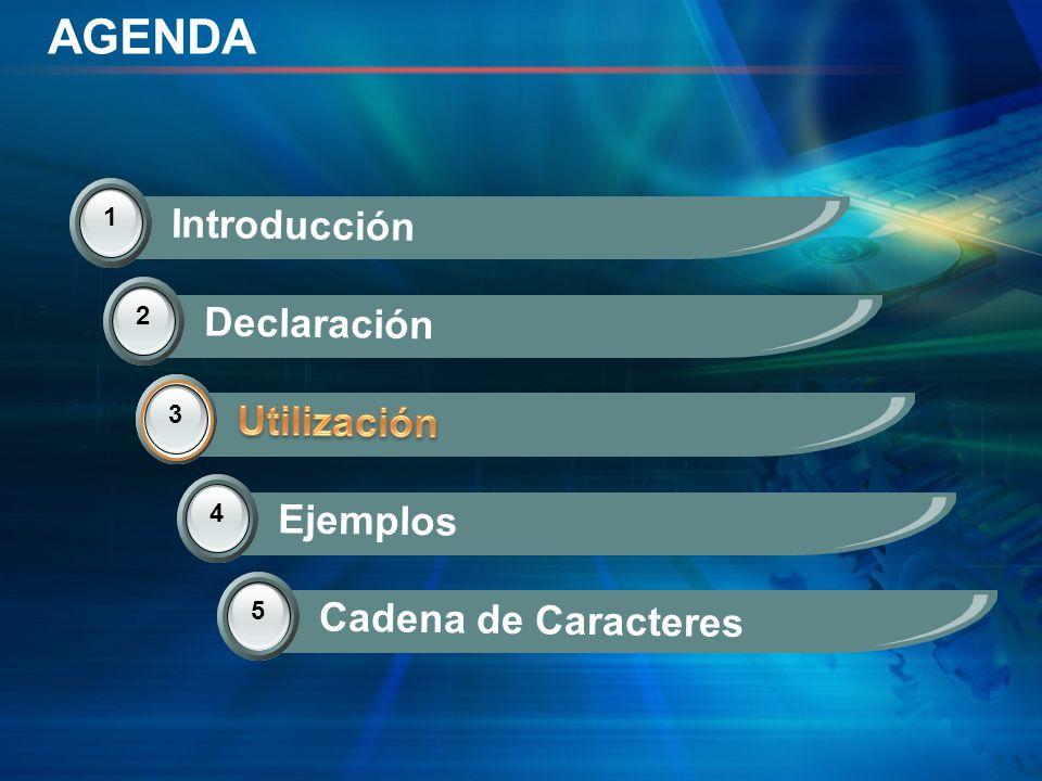 AGENDA Introducción Declaración Utilización Utilización Ejemplos