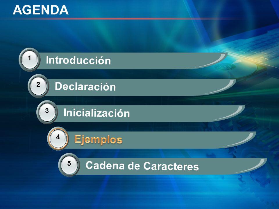 AGENDA Introducción Declaración Inicialización Ejemplos Ejemplos