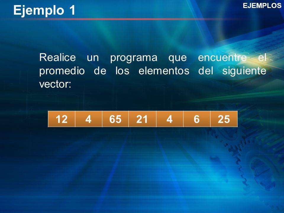Ejemplo 1 EJEMPLOS. Realice un programa que encuentre el promedio de los elementos del siguiente vector: