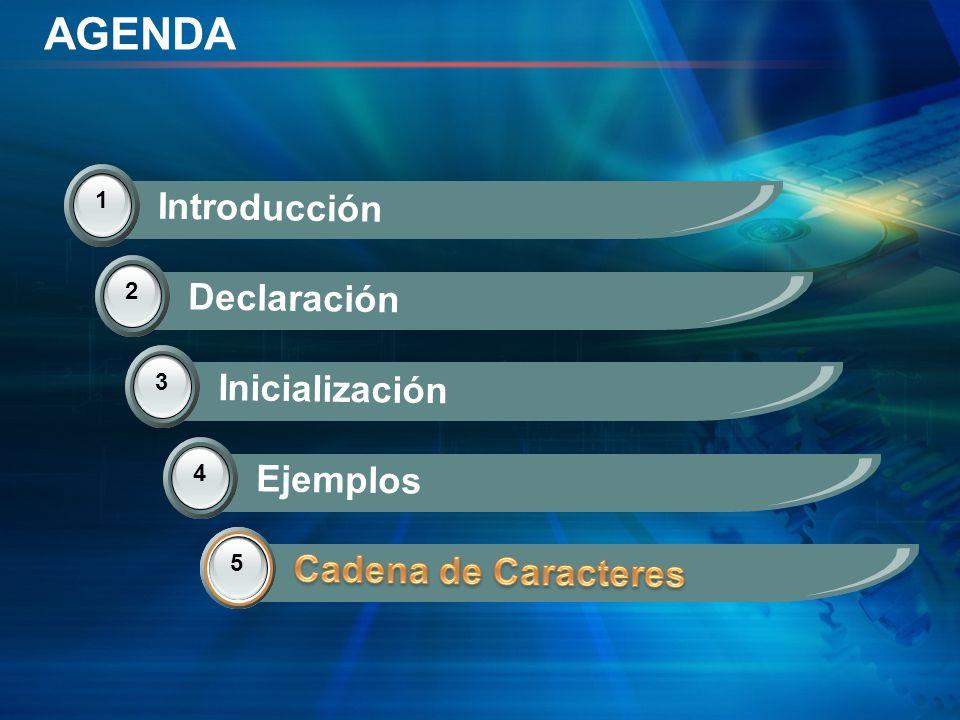 AGENDA Introducción Declaración Inicialización Ejemplos