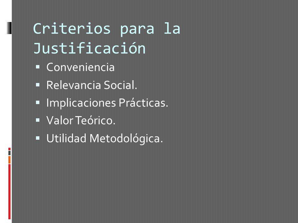 Criterios para la Justificación