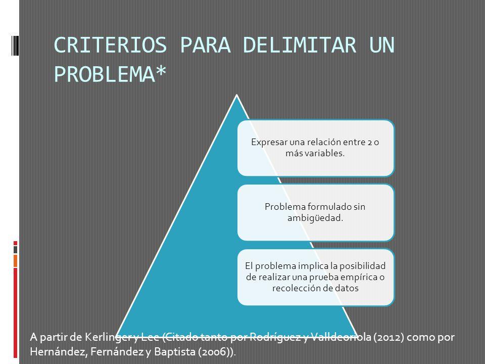 CRITERIOS PARA DELIMITAR UN PROBLEMA*