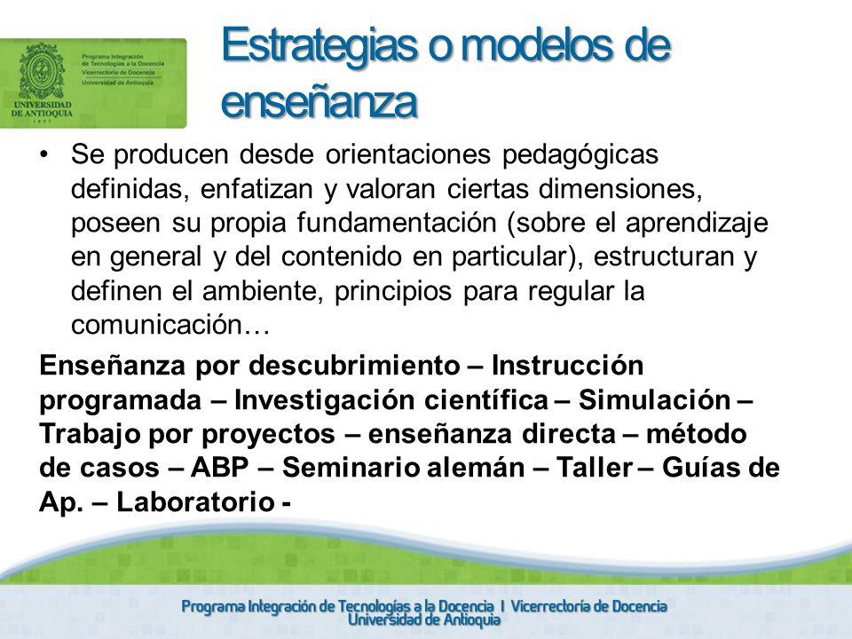 Estrategias o modelos de enseñanza