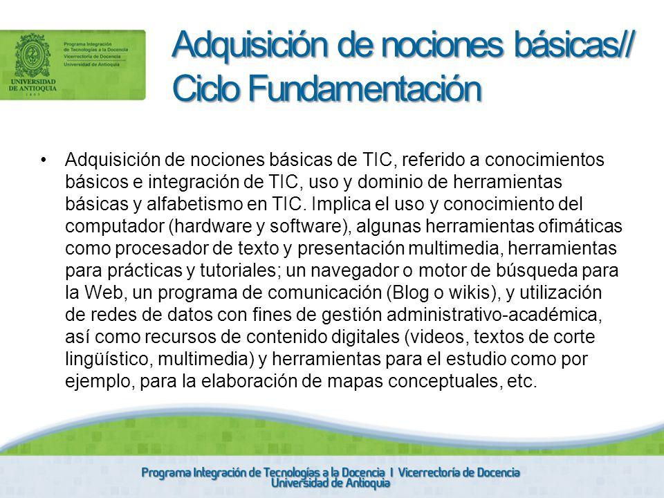 Adquisición de nociones básicas// Ciclo Fundamentación
