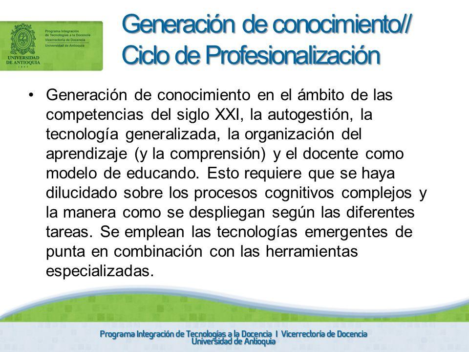 Generación de conocimiento// Ciclo de Profesionalización
