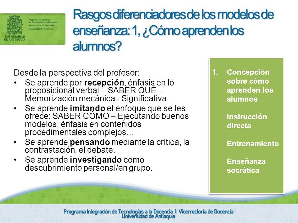 Rasgos diferenciadores de los modelos de enseñanza: 1, ¿Cómo aprenden los alumnos