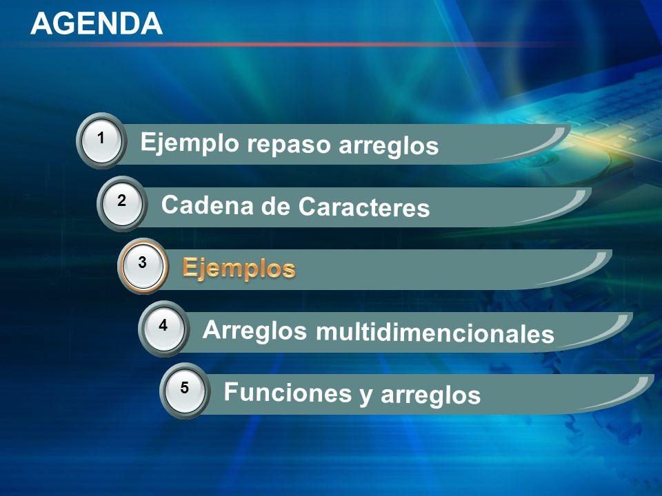 AGENDA Ejemplo repaso arreglos Cadena de Caracteres Ejemplos Ejemplos
